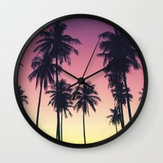Palmtrees Sunset Wall Clock
