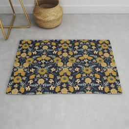 Navy Blue, Turquoise, Cream & Mustard Yellow Dark Floral Pattern Rug