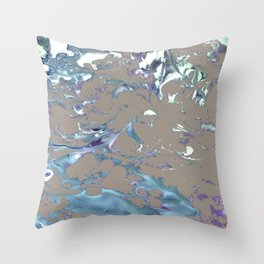 Greige, Gray, Beige, Teal, Navy and Purple Abstract Throw Pillow