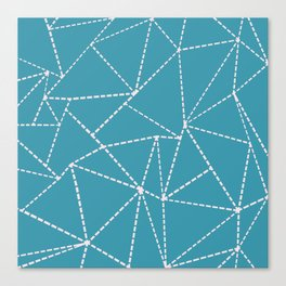 Ab Dotted Lines Pink on Blue Canvas Print