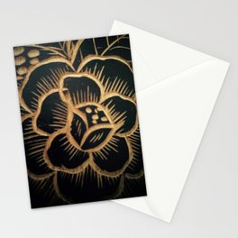 Flower carved on wood Stationery Cards