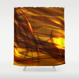 Saturated bronze and smooth sparkling lines of metal tapes on the theme of space and abstraction. Shower Curtain