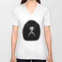 vendetta V-neck T-shirts featuring V for Vendetta (e7) by Ezgi Kaya