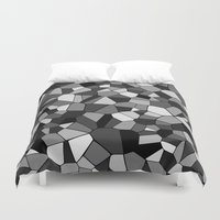 gray pattern Duvet Covers featuring Gray Monochrome Mosaic Pattern by Margit Brack