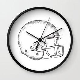 American Football Helmet Black and White Drawing Wall Clock