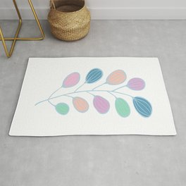 Leaf Print, Plant Print, Kids Room, Wall Art Download, Leaves Wall Art, Colourful Plant Rug