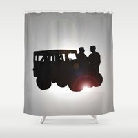sterek Shower Curtains featuring sunset by Finduilas