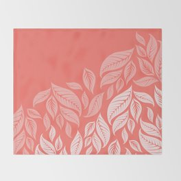 LIVING CORAL LEAVES Throw Blanket