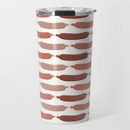 Cute vector sausages cartoon. Seamless repeat pattern illustration Travel Mug