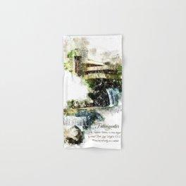 Fallingwater High, Watercolor Hand & Bath Towel