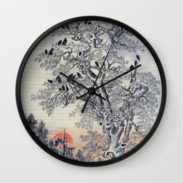 Flock Of Crows At Dawn - Digital Remastered Edition Wall Clock