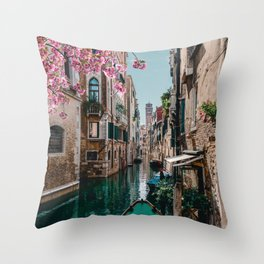 Spring Venice emerald canal with old building  Throw Pillow
