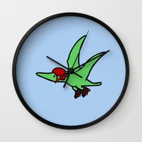roller derby Wall Clocks featuring Roller Derby Pterodactyl by Jez Kemp
