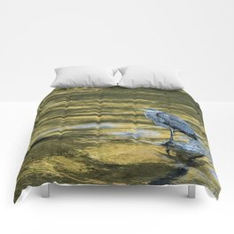 Great Blue Heron on a Golden River Comforters
