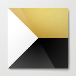 Gold White Black Abstract Geometric Art Metal Print