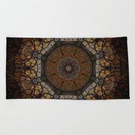 Rich Brown and Gold Textured Mandala Art Beach Towel