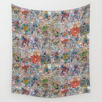 superheroes Wall Tapestries featuring Vintage Comic Superheroes Galore (Limited Time) by Dave Seedhouse.com