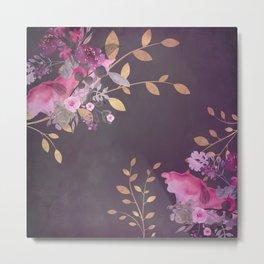 FLOWERS & GOLD  Metal Print