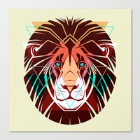hipster lion Canvas Prints featuring Lion by Pevuna