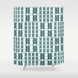 Vintage African Geometric Teal and Aqua Shower Curtain