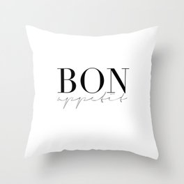 Bon Appetit,french Quote,Kitchen Sign,Kitchen Wall Art,Home Decor,Quote Prints,Typography Print Throw Pillow