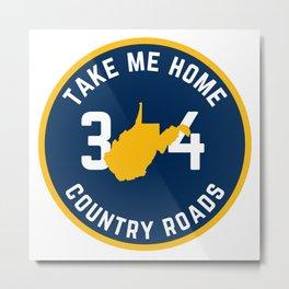 West Virginia State Map Country Roads Take Me Home WV Pride Metal Print