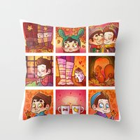 klaine Throw Pillows featuring Sweet Autumn by Sunshunes