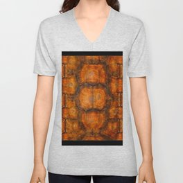 TEXTURED NATURAL ORGANIC TURTLE SHELL PATTERN Unisex V-Neck