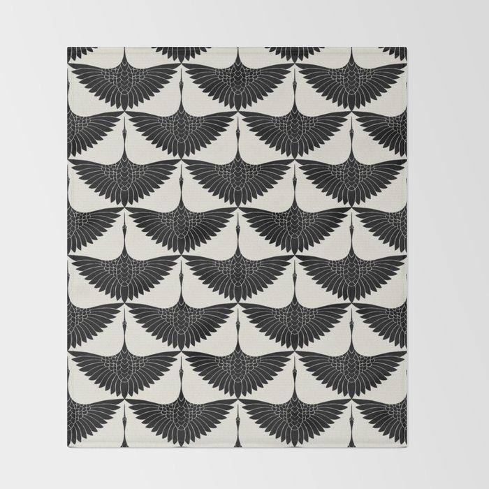 CRANE DESIGN - pattern - Black and White Decke