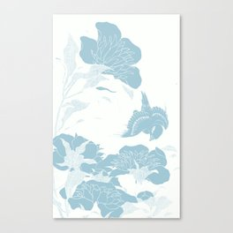japanese Flowers White and Blue Canvas Print