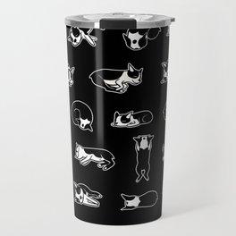 Sleeping Boogie the Boston Terrier (pattern on black) Travel Mug