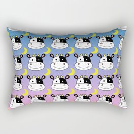 Happy Cow and Moon Pattern Rectangular Pillow