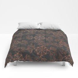 Elegant black rose gold floral mandala pattern Comforters