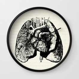 Vintage Anatomy Illustration of the Heart and Lungs Wall Clock