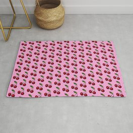Red Cherry Cherries with Polka Dots in Pink Rug