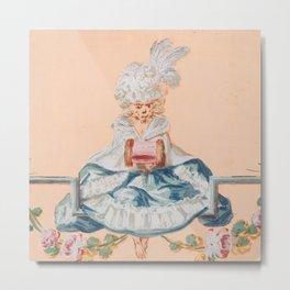 Monkey in Rococo Dress, Christophe Huet Metal Print