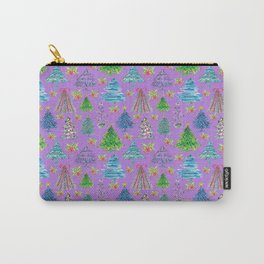 Christmas Tree in Purple Backdrop Carry-All Pouch