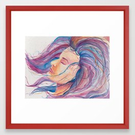 Girl with the Rainbow Hair Framed Art Print
