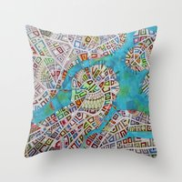 boston map Throw Pillows featuring imaginary map of boston  by Federico Cortese