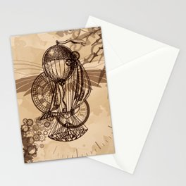 Steampunk - Clock and Gears Ballon Stationery Cards