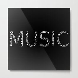 Music typo - inverted Metal Print