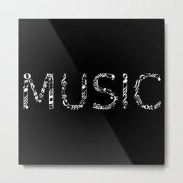 Music typo - inverted Metal Print