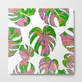 Botanical forest green pink coral watercolor tropical monster leaves Metal Print