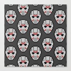 Knitted Jason hockey mask pattern Canvas Print