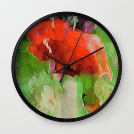The Red Poppies Wall Clock