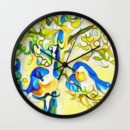 Yellow Bluebirds Sittin in a Tree, K I S S I N G by CheyAnne Sexton Wall Clock