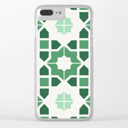 Morrocan tiles in green Clear iPhone Case