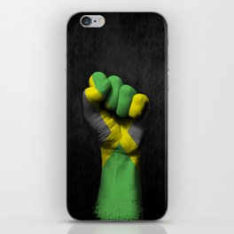 Jamaican Flag on a Raised Clenched Fist iPhone Skin