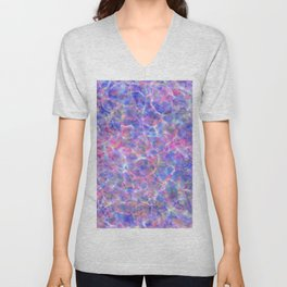 Abstract girly pink blue watercolor hand painted marble Unisex V-Neck