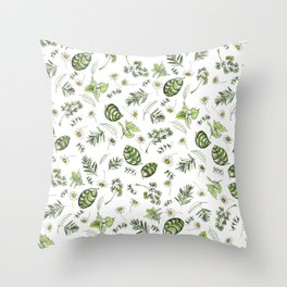 Scattered Garden Herbs Throw Pillow